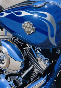 "Scott Jacobs Hand Signed and Numbered Limited Edition Canvas Giclee: ""Flames & Chrome Destination Unknown"""