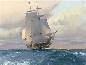 "Christopher Blossom Handsigned & Numbered Limited Edition Canvas Giclee :""U.S. Frigate Congress on the California Coast"""