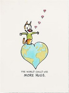 "Patrick McDonnell Handsigned and Numbered Limited Edition Lithograph on Paper: ""The World Could Use More Hugs"""