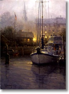 "G. Harvey Limited Edition Print:""Harbor Mist - Mystic , Connecticut"""