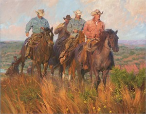"""Bruce Greene Artist Hand Signed Open Edition Print and Limted Canvas Giclee: """"A Cowboy's Commute"""""""