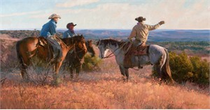 "Bruce Greene Artist Hand Signed Open Edition Print and Limted Canvas Giclee:""Cowboy Choreography"""