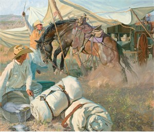 "Bruce Greene Artist Hand Signed Open Edition Print and Limted Canvas Giclee:""The Wagon Fly Incident"""