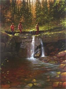 "Doug Hall Artist Hand Signed Limted Edition Giclee Canvas:  ""Stone Bridge Crossing"""