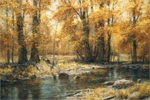 "Robert Peters Artist Hand Signed Limited Edition Canvas Giclee: ""Autumn's Veil"""