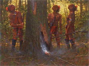 """Doug Hall Artist Hand Signed Limted Edition Giclee Canvas: """"Smoking Out the Den Tree"""""""