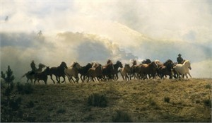 "Norm Clasen Hand Signed and Numbered Canvas Giclee: ""Dream Herd"""