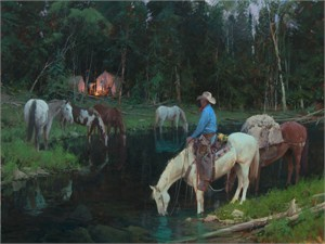"Bill Anton Hand Signed and Numbered Limited Edition Giclee on Canvas and Paper:""Evening Arrival"""