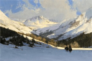 """Bill Anton Handsigned & Numbered Limited Edition Giclee on Canvas:""""Though the Road May Be Long"""""""