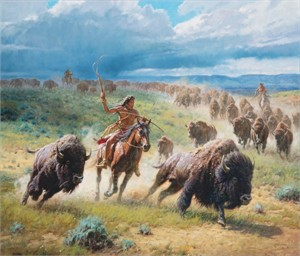 """Martin Grelle Hand Signed and Numbered Limited Canvas Giclee:""""Chasing Thunder"""""""