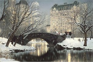 """Rod Chase 2009 Handsigned and Numbered Limited Edition Christmas Canvas Giclee : """"Holiday in the Park"""""""