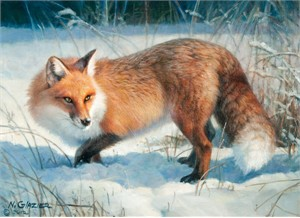 "Nancy Glazier Artist  Signed Open Edition Canvas:""Winter Fox"""