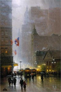"G. Harvey Oversize Giclee on Canvas : ""The Lights of Broadway"""