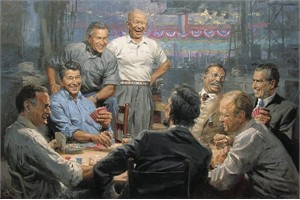 "Andy Thomas Artist Hand Signed Open Edition Canvas Giclee: ""Grand Ol' Gang - Republican Presidents"""