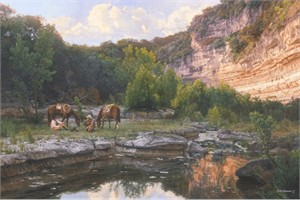 """Bob Wygant Handsigned and Numbered Limited Edition Canvas Giclee:""""Cowboy Coffee Time"""""""