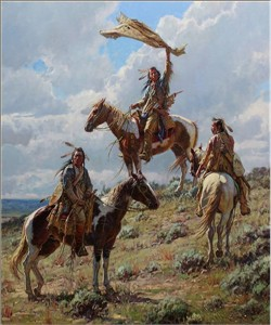 "Martin Grelle Hand Signed and Numbered Limited Canvas Giclee:""Apsaalooke Signal Maker"""