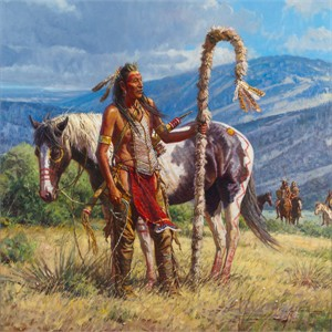 "Martin Grelle Hand Signed and Numbered Limited Canvas Giclee:""Second to the Pipe Carrier"""