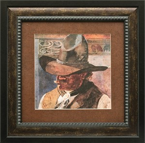 """Linda Loeschen Brushstroked Textured Matted and Framed Art Print: """"The Banker"""""""