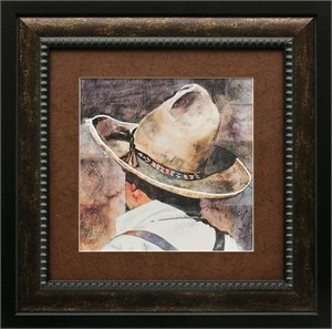 "Linda Loeschen Brushstroked Textured Matted and Framed Art Print: ""The Gambler"""