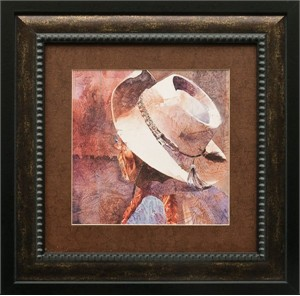 "Linda Loeschen Brushstroked Textured Matted and Framed Art Print: ""The Poet"""