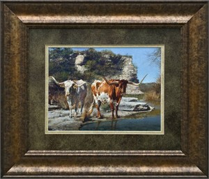 "Ragan Gennusa Brushstroked Textured Matted and Framed Art Print: ""Pinto Pardners"""