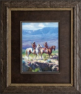 "Martin Grelle Brushstroked Textured Matted and Framed Art Print: ""Scouts in Rough Country"""