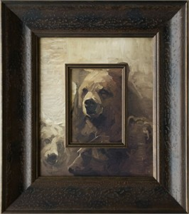 """Mary Roberson Brushstroked Textured Matted and Framed Art Print: """"Grizzlies in the Sun"""""""