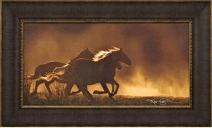 """Kimerlee Curyl Brushstroked Textured Matted and Framed Art Print: """"Painted Sunset"""""""
