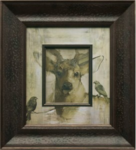"""Mary Roberson Brushstroked Textured Matted and Framed Art Print: """"Three Cheers for the Ears"""""""