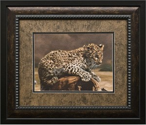 "Charles Frace Brushstroked Textured Matted and Framed Art Print: ""African Leopard Cub"""