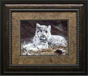 "Charles Frace Brushstroked Textured Matted and Framed Art Print: ""Baby Snow Leopard"""