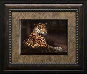 """Charles Frace Brushstroked Textured Matted and Framed Art Print: """"Jaguar (By the Water)"""""""
