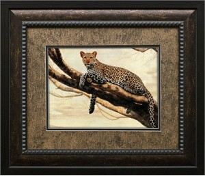 "Charles Frace Brushstroked Textured Matted and Framed Art Print: ""Leopard on a Branch"""