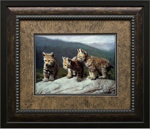 """Charles Frace Brushstroked Textured Matted and Framed Art Print: """"Three of a Kind"""""""