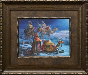 "Tom duBois Brushstroked Textured Matted and Framed Art Print: ""And Wise Men Came Bearing Gifts"""