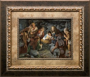 """James Seward Brushstroked Textured Matted and Framed Art Print: """"Immanuel~God with Us"""""""