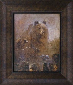 "Mary Roberson Brushstroked Textured Matted and Framed Art Print: ""A Bear in Mind"""