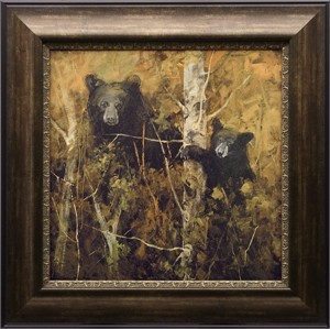 "Mary Roberson Brushstroked Textured Matted and Framed Art Print: ""A Pair of Bears"""