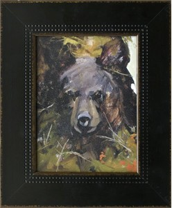"""Mary Roberson Brushstroked Textured Matted and Framed Art Print: """"Black Bear Cub"""""""