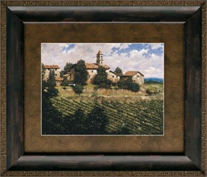 """George Hallmark Brushstroked Textured Matted and Framed Art Print: """"Tuscan Sun"""""""