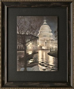 "Rod Chase Brushstroked Textured Matted and Framed Art Print: ""Liberty's Light"""
