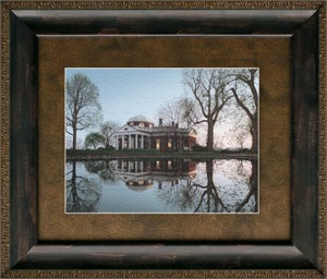 "Rod Chase Brushstroked Textured Matted and Framed Art Print: ""Jefferson's Monticello"""