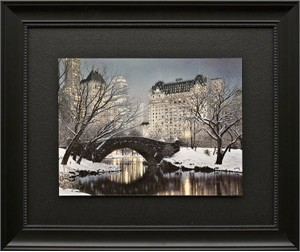 "Rod Chase Brushstroked Textured Matted and Framed Art Print: ""Twilight in Central Park"""
