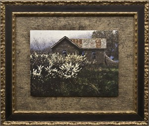 "George Hallmark Brushstroked Textured Matted and Framed Art Print: ""Wild Plum"""