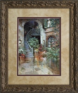 "L. Gordon Brushstroked Textured Matted and Framed Art Print: ""Palm Court"""