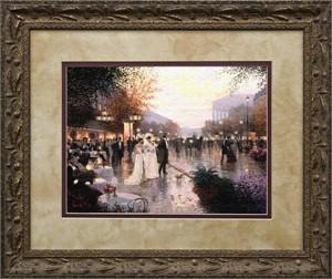 "Christa Kieffer Brushstroked Textured Matted and Framed Art Print: ""Cafe Madeleine"""