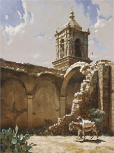 "George Hallmark Hand Signed and Numbered Limited Edition Giclee on Paper and  Canvas :""Ruins of San Jose, 1875"""