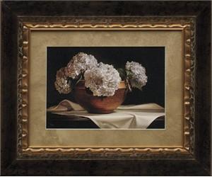 "Kyle Polzin Brushstroked Textured Matted and Framed Art Print: ""Hydrangeas"""