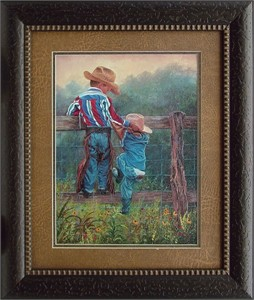"""June Dudley Brushstroked Textured Matted and Framed Art Print: """"Cowboy Up"""""""