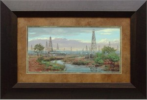 "Andy Thomas Brushstroked Textured Matted and Framed Art Print: ""Oil Patch"""